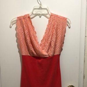 Peach Lace bodycon mini dress